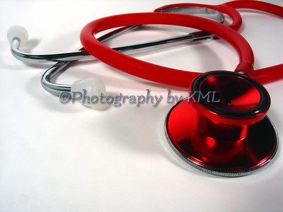 a a macro of red stethoscope
