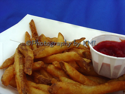 macro of french fries and ketchup