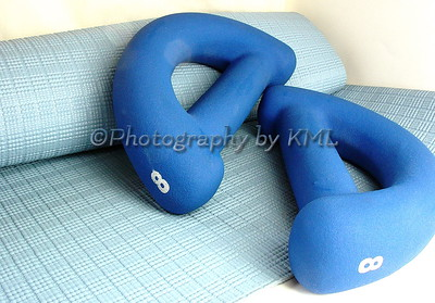 weights and an exercise mat